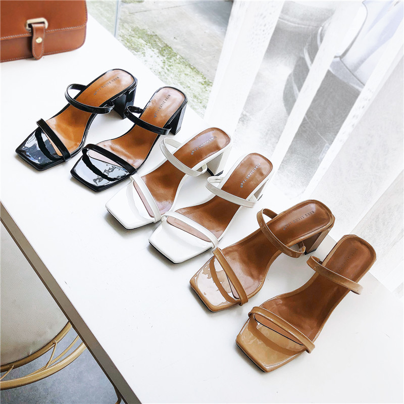 Slip On Square Heel Women Slipper Summer Outdoor Trendy Comfortable Women Sandals Thin Strap Women Slipper Elegant Women Shoe