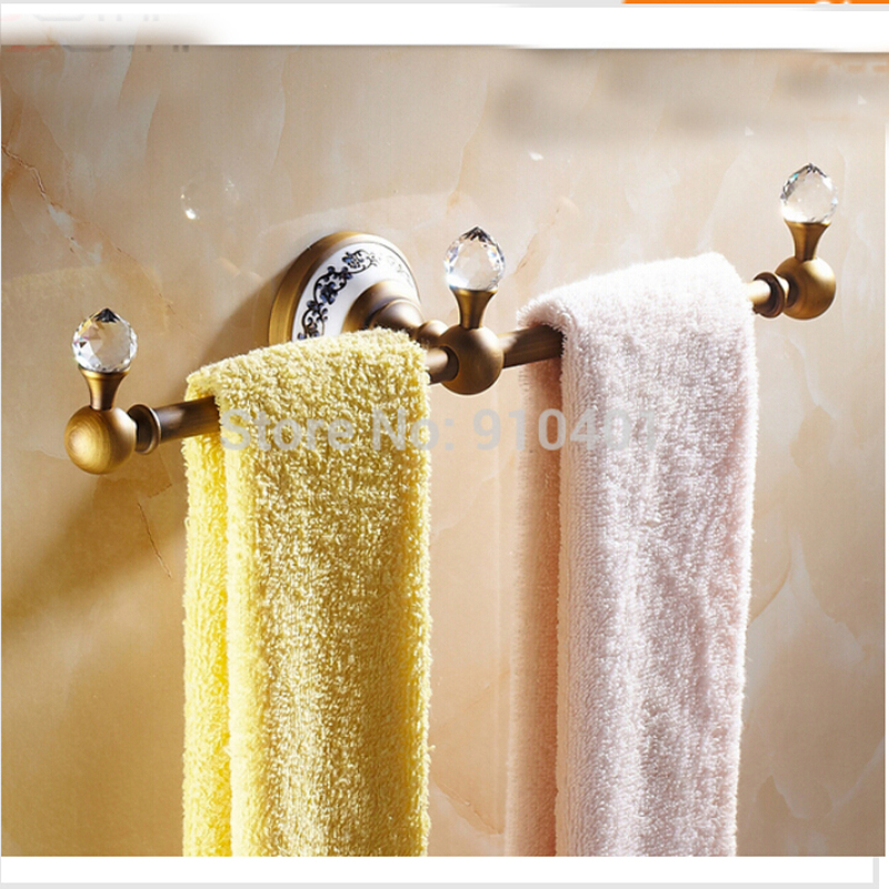 Free Shipping Wholesale And Retail Promotion Antique Brass Towel Rack Holder Bathroom Towel Bar Ceramic Crystal