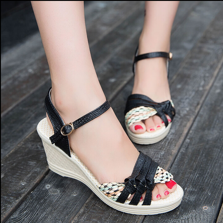 2016 female sandals high platform wedges open toe casual shoes