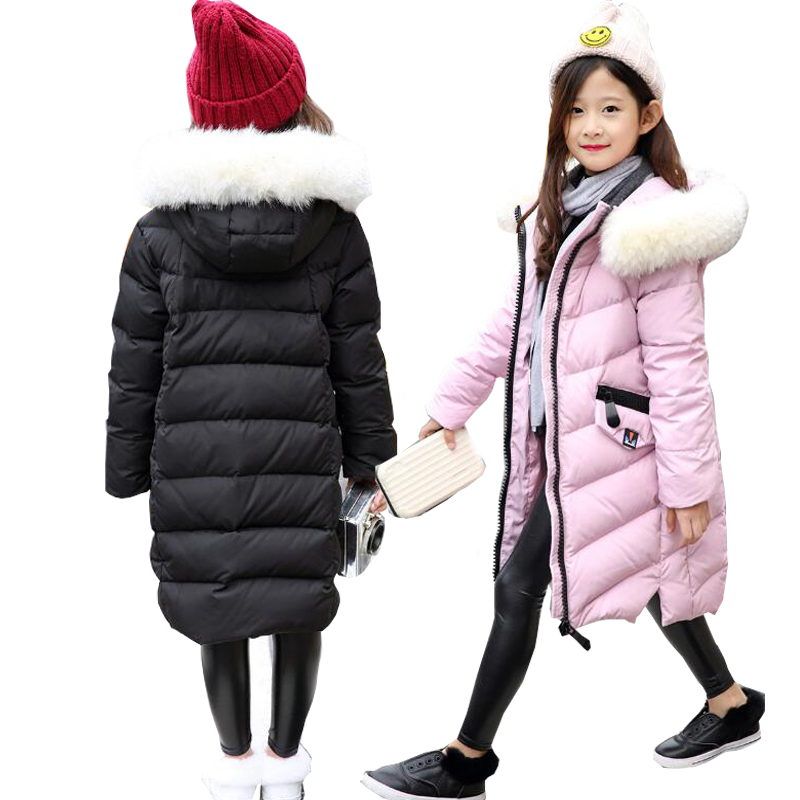Girls Down Jackets Winter Jackets Girls Snowsuit Outerwear Big Fur Collar Child Down Jackets overcoat hooded long Girls Warm
