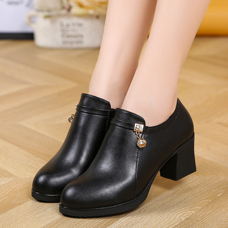 Womens Ankle Boots Medium Heels Black Boot designer shoes ...