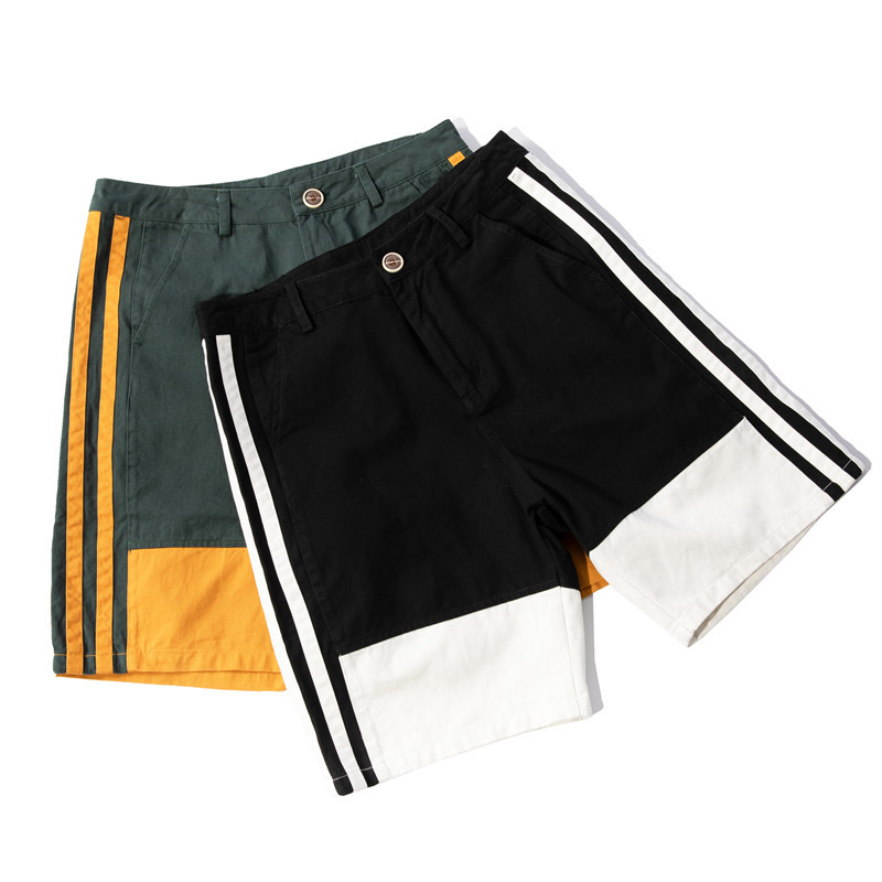 2018 Spring And Summer New Cotton Material Men's Simple Color Matching Personality Fashion Casual Shorts Youthful Street
