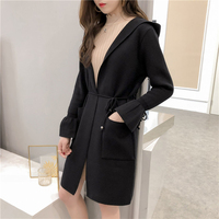 Women Hooded Knitted Sweater Cardigan Lace Up Long Jumper Sweater Ladies Long Flared Sleeve Winter Cardigan Outwear AA11930