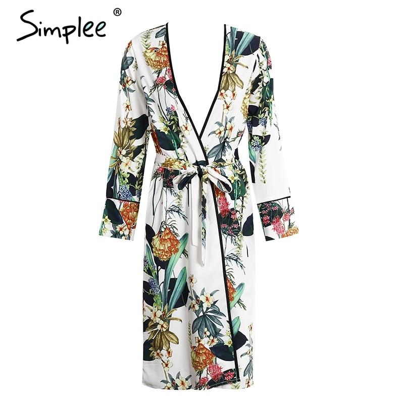 Simplee gasa de la impresión Floral del kimono blusa las mujeres se dividieron k