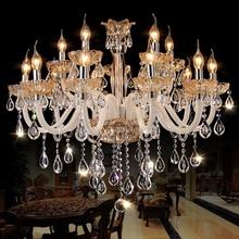 Nouveau Luxe Lustre Suspension D'éclairage Cordon Pendentif Lampes Ambre Cristal Luminaire Pour Salon lustres de sala Livraison gratuite