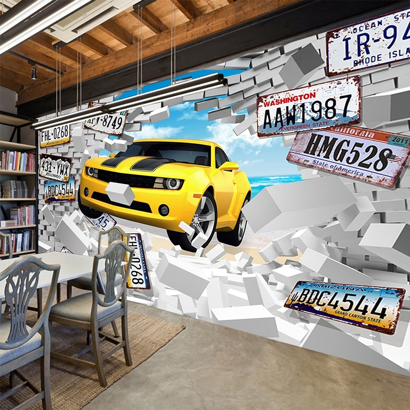 Custom Photo Mural Wallpaper Large Wall Painting 3D Personalized License Plate Car Broken Wall Papers Home Decor Living Room