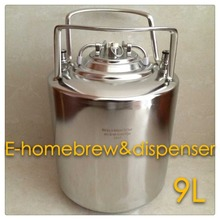 Nice look brand New Stainless Steel 304 Ball Lock Cornelius style Beer Keg 9L , Closure Lid with Pressure Relief Valve