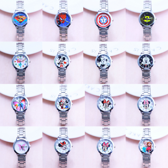2018 Fashion Cartoon boys Gilr quartz Watch spiderman superman Minnie mickey els