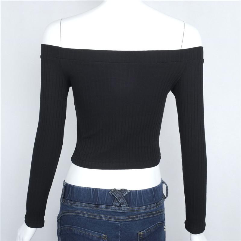 HTB1Ei8SNpXXXXXMapXXq6xXFXXXd - Slash Neck White T-shirt Women Cropped Tops JKP032