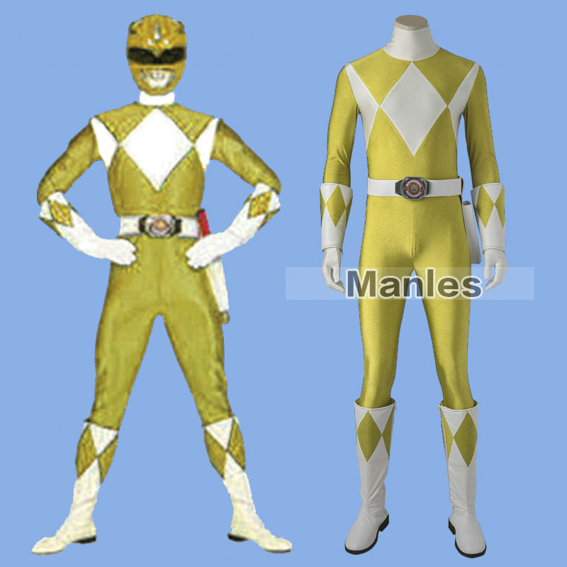 Costume For Boy Tiger Ranger Cosplay Costume Zyuranger Clothes Spandex Suit With Boots Halloween Carnival Party Yellow Customize