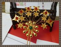 TV Play Use Gold Plating Hair Stick Traditional Antique Pinach Pure Handmade Miao Silver Hair Sticks for Bride or Empress