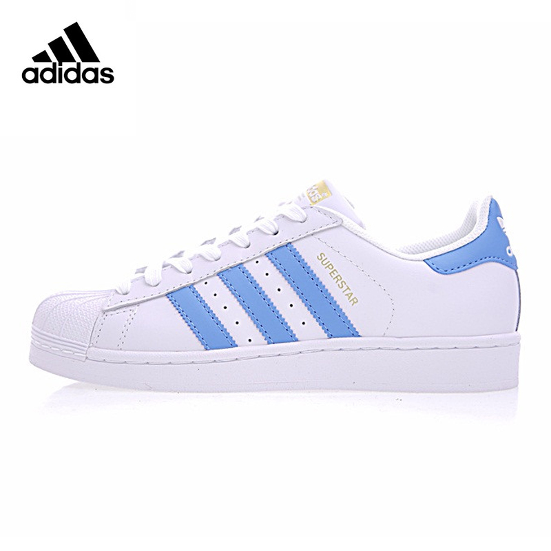 Adidas Originals Men Women Sneakers White Blue Stripe Skateboarding Shoes Leather Breathable Lace-up Adidas Sports adidas sport performance kid s boat lace i sneakers