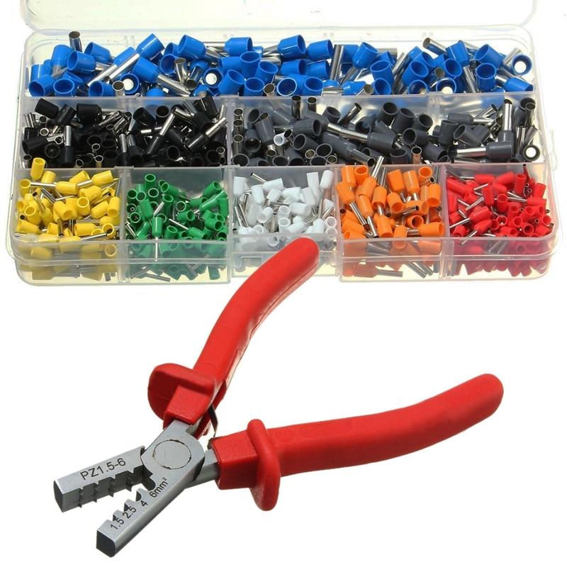 800pcs Cable Wire Terminal Connector with Hand Ferrule Crimper Plier Crimp Tool Kit Set Terminals     - title=