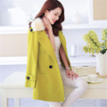 2015 Autumn Winter Women Plus Size S~XXL Brand Jacket Long Double Breasted Lapel Outwear Wool & Blends Coat Casacos LW413