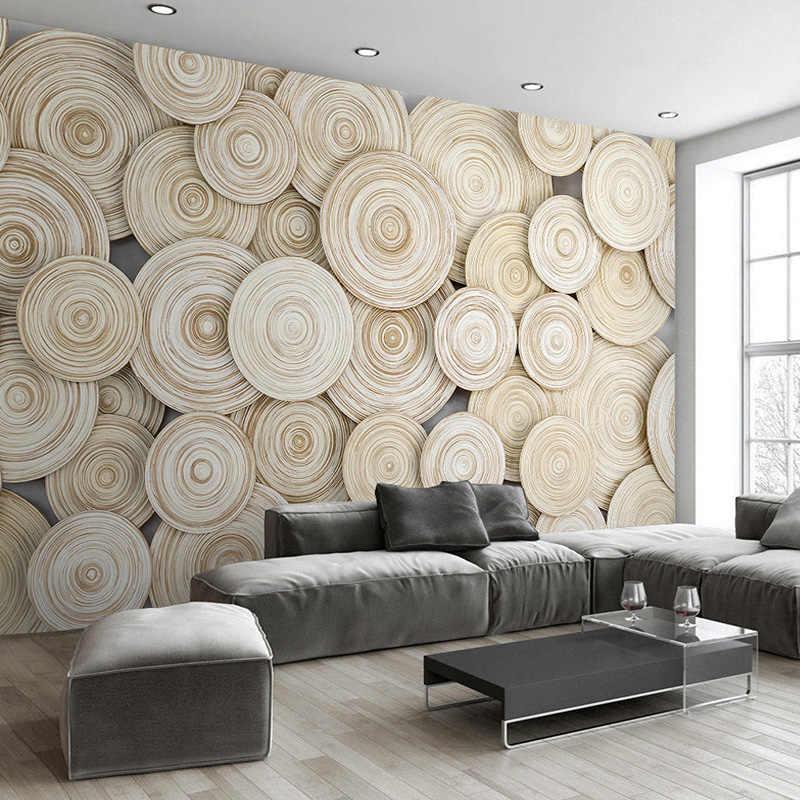 גדול מותאם אישית ציור קיר טפט מודרני עיצוב 3D עץ מרקם סלון טלוויזיה רקע קיר דקורטיבי אמנות טפט קיר כיסוי