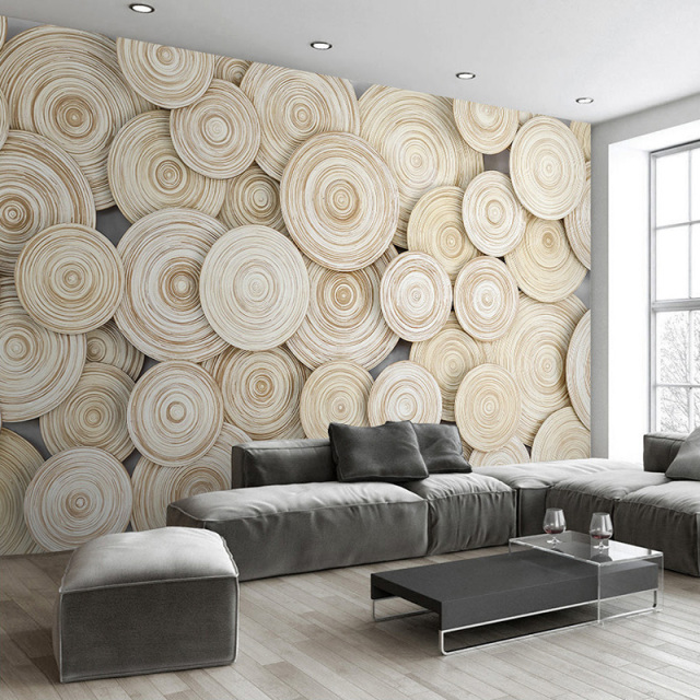 Large custom mural wallpaper modern design 3d wood texture living room tv background wall for Living room wallpaper design