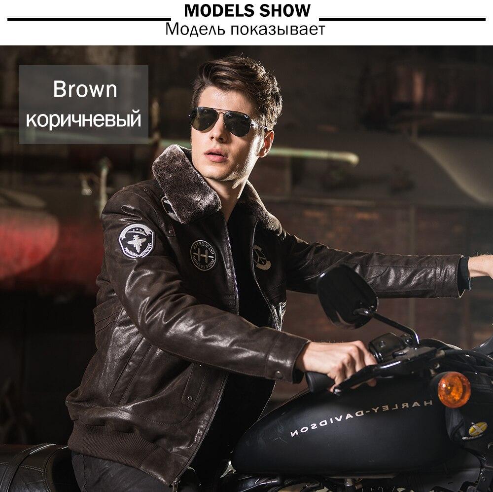 Men's real leather jacket pigskin Genuine Leather jacket men leather coat air force flight jackets padding cotton warm