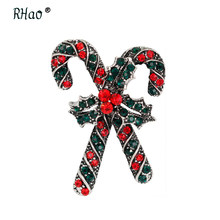 RHao Hot Sale Christmas Brooches Scarf buckles Red Rhinestone Crutch walking Stick brooches pins for Christmas jewelry brooch(China)