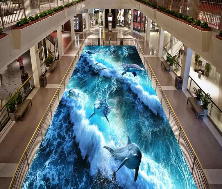 Fondos de pantalla 3d océano suelo murales océano foto papel tapiz para paredes 3 d vinilo delfín para suelo fondos de pantalla para sala de estar decoración del hogar