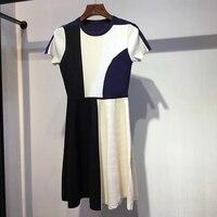 Для женщин Мода летнее платье О образным вырезом Повседневное короткий рукав трапециевидной формы Цвет: белый, черный, голубой платье Для ж
