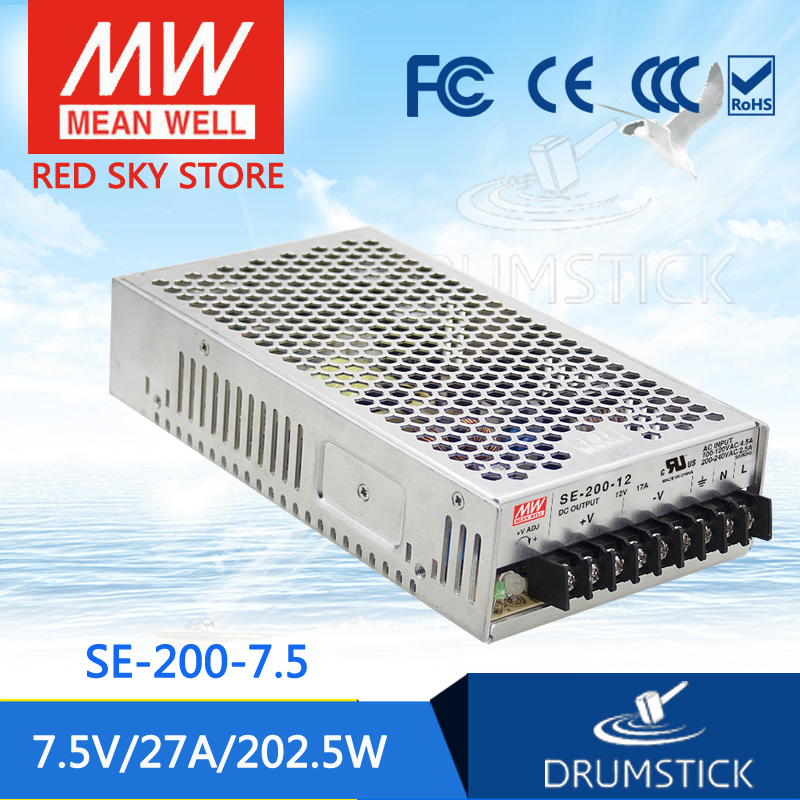 MEAN WELL SE-200-7.5 7.5V 27A meanwell SE-200 7.5V 202.5W Single Output Switching Power Supply best selling mean well se 200 15 15v 14a meanwell se 200 15v 210w single output switching power supply