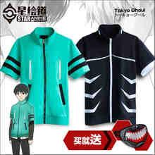 Горячая аниме токио вурдалак кен Kaneki хлопок короткие рукава летний стиль потому куртка косплей костюм