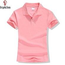 Новинка, летняя брендовая однотонная женская рубашка поло, тонкая рубашка с коротким рукавом, рубашка поло, Женская Повседневная рубашка YY417