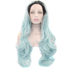 2016new products style ombre green wig long body wave hair dark root synthetic lace front wigs for black women heat resistant