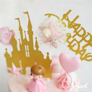 Image 3 - CROWN เจ้าหญิงตกแต่งทองเงาปราสาทสีชมพูลูกเค้ก Topper สุขสันต์วันเกิดสำหรับเด็กงานแต่งงานอุปกรณ์เบเกอรี่ของขวัญ