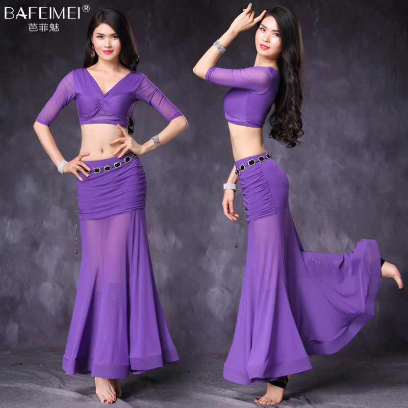 Lady Belly Dance Suit Female Belly Dancing Dress 2pcs Suit Sexy V Collar Dancing Suit Long