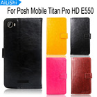 AiLiShi Leather Case For Posh Mobile Titan Pro HD E550 Case Wallet Luxury Flip Cover High Quality Protective Phone Bag
