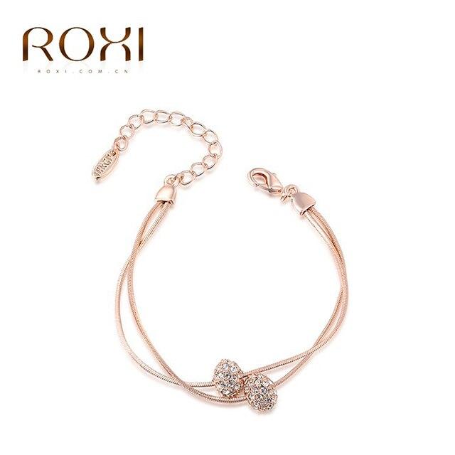ROXI Marca Charme Pulseiras & Pulseiras Cor de Rosa de Ouro Mulheres Moda Elegante Contas de Cristal Festa de Casamento Da Jóia para a Mulher