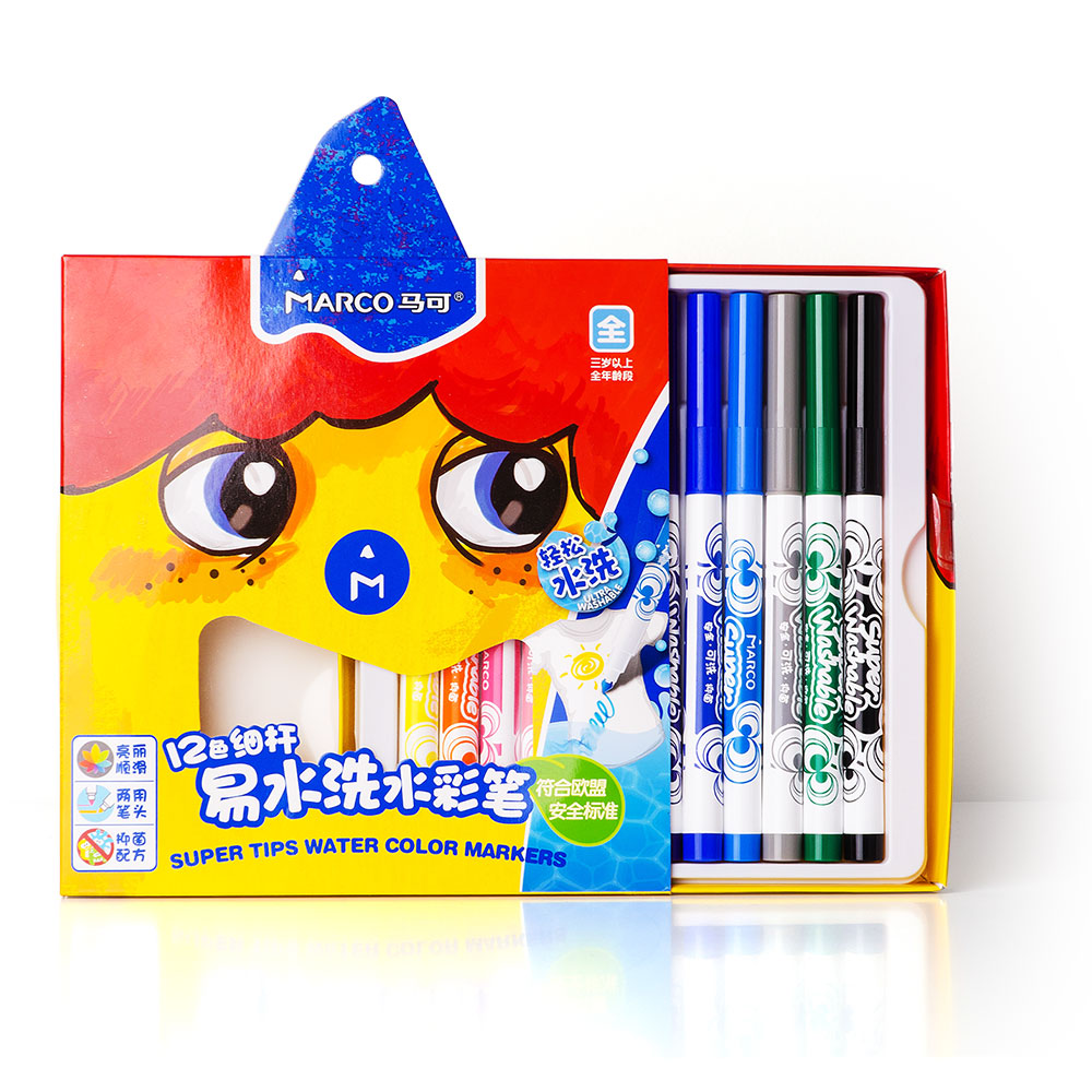Marco Watercolor Marker Pens Super Tips Washable Markers Eco-friendly Fiber Coloring Drawing Pen for Kids 12/24 colors aihao new arrivals eco friendly art marker children colorful colorpen washable nontoxic marker pen free shipping