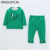 Winter Baby Plus Cashmere Warm Pajamas Sets 2pcs Kids Cotton Underwear Boys Girl Sleepwear Trousers Cartoon