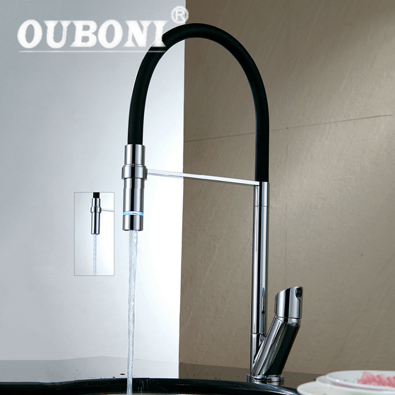 цена на OUBONI AU 360 Swivel Spout Chrome Brass Taps Deck Mounted Vessel Sink Mixer Tap Kitchen Basin Sink Faucet Hot & Cold Mixer