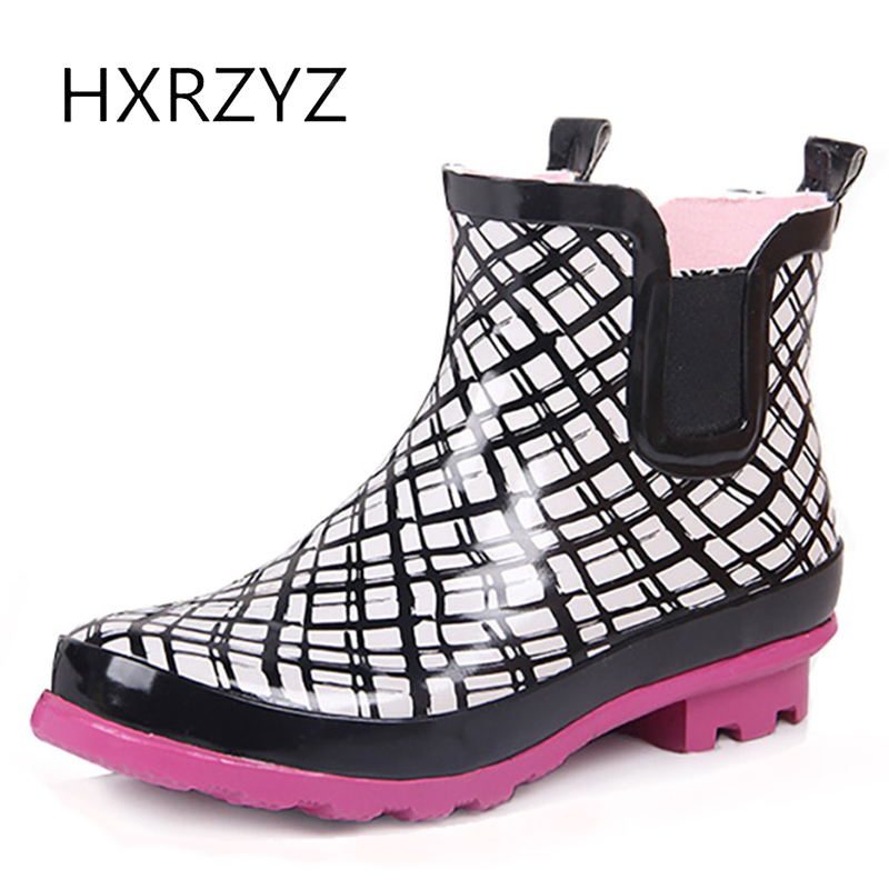 HXRZYZ women rain boots elastic band rubber ankle boots spring/autumn cartoon waterproof Slip-Resistant new fashion women shoes hellozebra women rain boots waterproof fashion rubber elastic band solid color raining day shoes low heel 2017 autumn new href