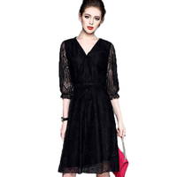Women spring summer 2017 new Lace sexy dress V-neck Hook flowers Hollow dress pure black fashion dress LU68
