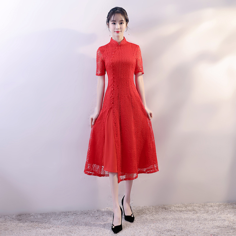 New Red Elegant Chinese Style Evening Dress Women Lace Sexy Mid-Calf  Cheongsam Vintage Vietnam Aodai Slim Loose Qipao 89bde405cf87