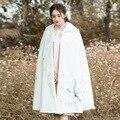 Новый Осень Зима Женщины Этнический Стиль Вышивки С Капюшоном Белого Цвета Шерстяная Накидка Пальто Cappa Outerwears Плюс Размер
