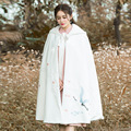 New Autumn Winter Women Ethnic Style Embroidery Hooded White Color Wool Cape Coats Outerwears Cappa Plus Size