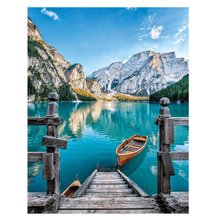 Moge DIY Diamond Painting braies lake Natural scenery embroidery full Braies scenic painting