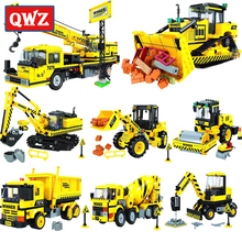 QWZ City Construction Engineering vehicles Model Legoes Building Blocks City Excavator DIY Bricks Children Boy Toy цена в Москве и Питере