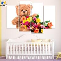 Free Shipping Colorful Polar Bear And Flower Canvas Art Print Poster Wall Pictures For Kids Bedroom