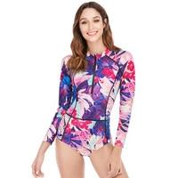 Swimsuit ladies print slim body long sleeve one piece large size swimsuit
