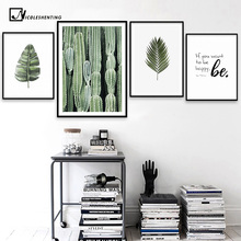 Nordic Style Leaves Cactus Poster Canvas Prints Motivational Poster Quotes Wall Art Painting Picture for Living Room Decoration(China)