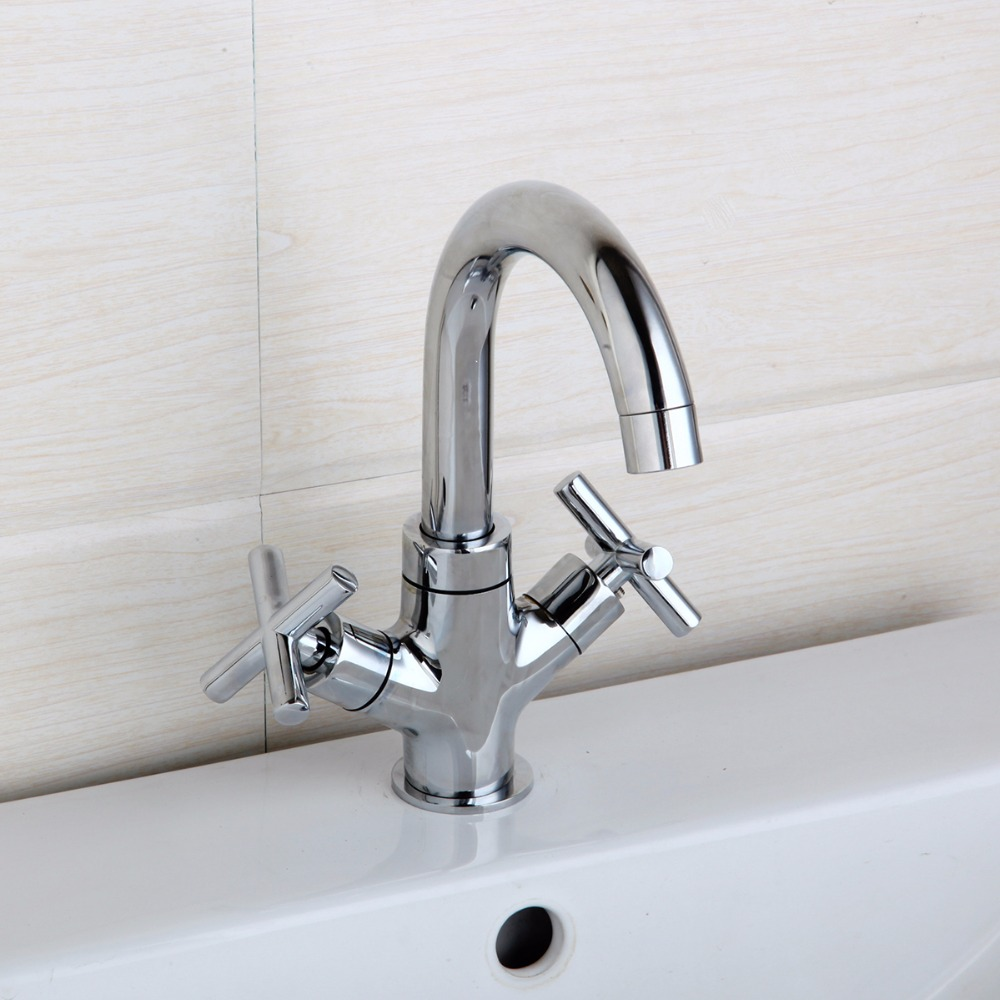 360 Swivel Kitchen Sink Faucet Chrome Brass Finish Stream Spout Bathroom Faucet Hot & Cold Mixer Deck Mounted Tap Two Handle antique brass swivel spout dual cross handles kitchen