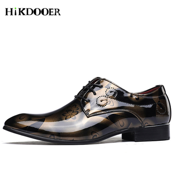 Italian Designer Pattern Men Formal Dress Shoes Male Fashion Leather Wedding Shoes Men Loafers Chaussure Homme Bullock Shoes men dress shoes genuine leather men oxford shoes luxury brand flats wedding oxford lace up loafers bullock shoes chaussure homme