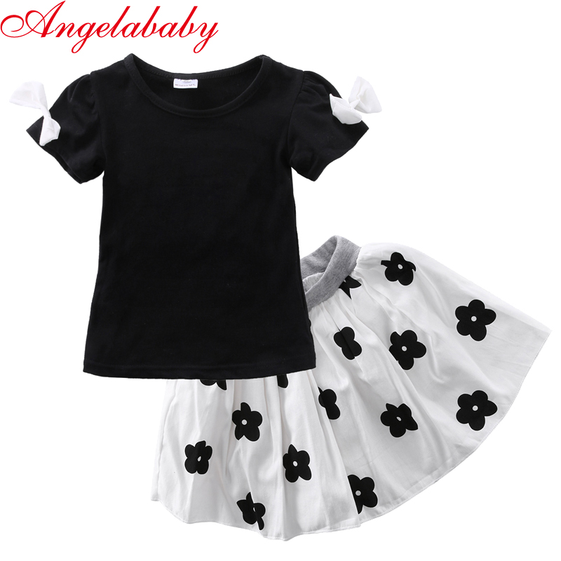 2017 Toddler Girls Kids Princess Party Clothes black T-shirt tops +white flower printed skirt 2pcs Outfits kids outfits letter pattern tops in white