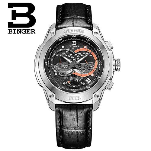 New Switzerland Binger W Men Quartz Geneva Leather Strap men's Black Yellow Dial Fashion Retro Brand watches