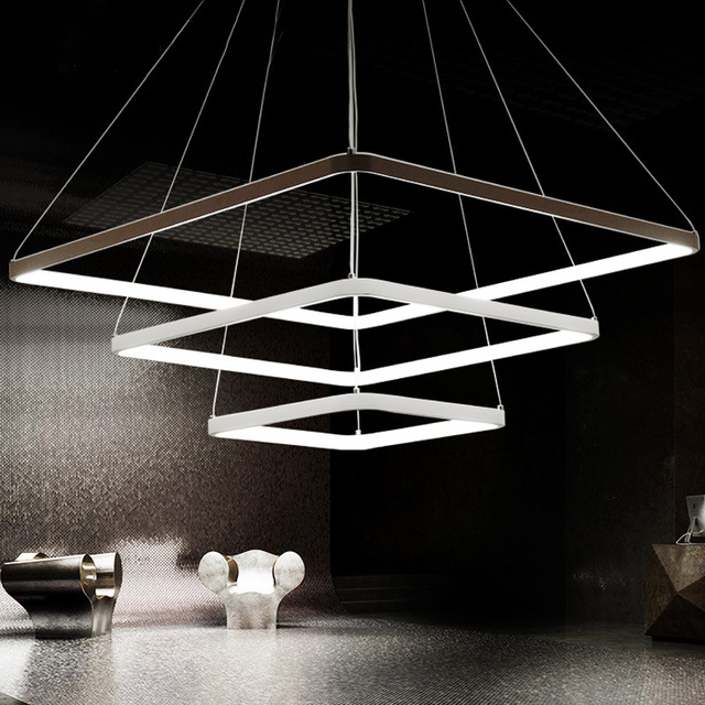 Remote Control Modern Pendant Light Square Shape 3 Rings Stepless adjusted LED Lighting for living Room